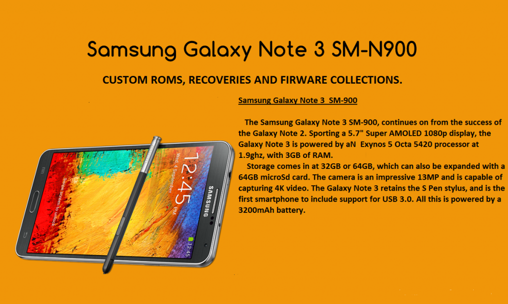 [Download] Collections of Custom Roms, Recoveries And Firmwares For The Samsung Galaxy Note 3 SM-N900 Exynos Version 5