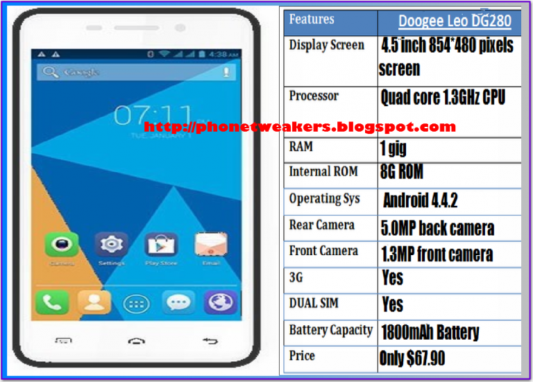 [Unbrick][Download] Stock Official Doogee LEO DG 280 Firmware (OS 4.4.X)