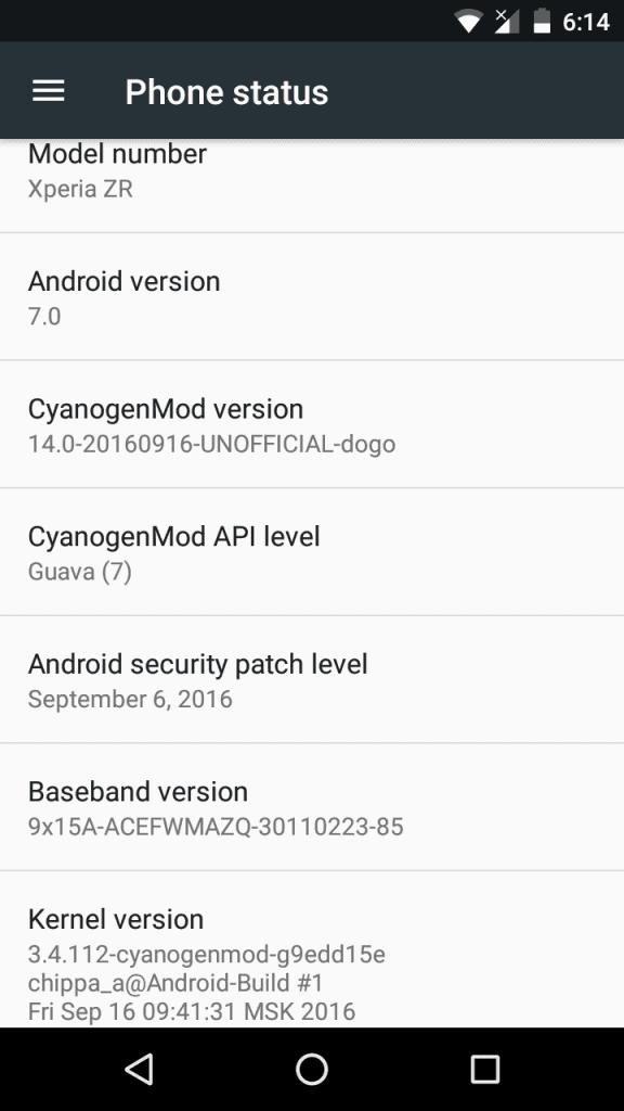 CyanogenMod 14 Nougat 7.0 Rom For Sony Xperia ZR 8
