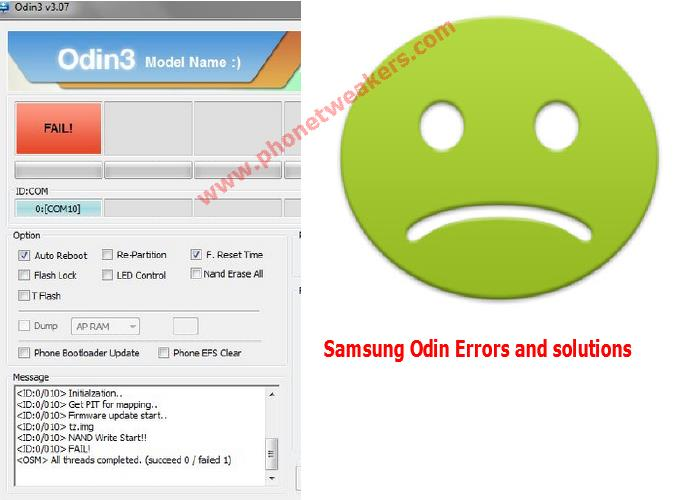 List of Samsung Odin Flashing Error, Failure And Solutions 3