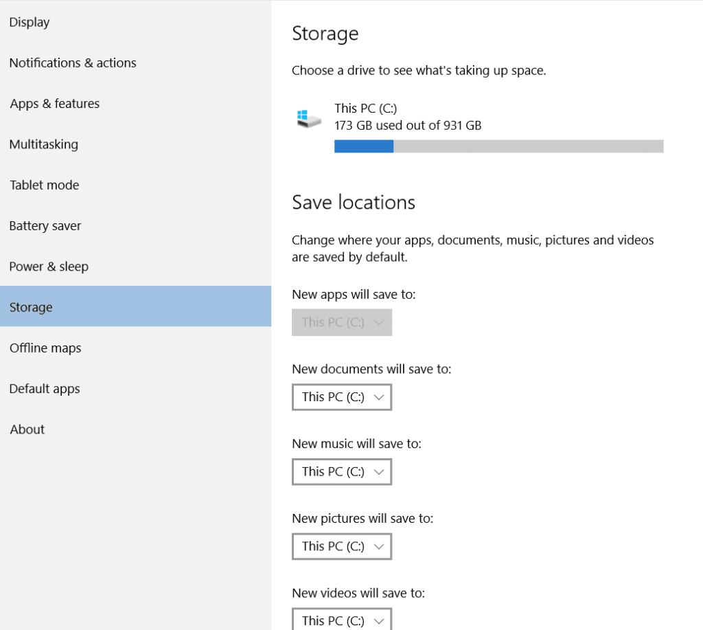 window storage setting